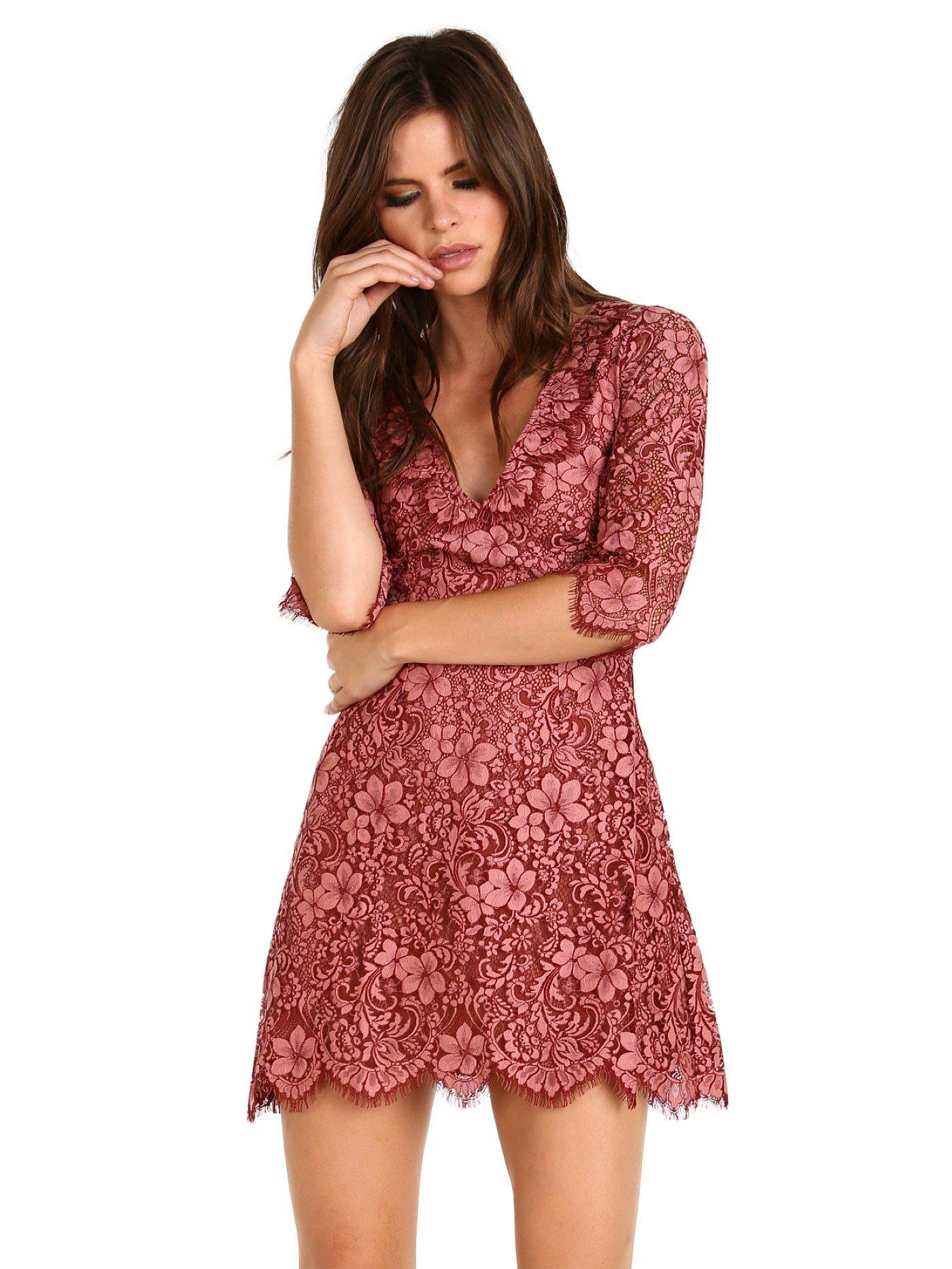 For Love & Lemons Women's Theodora Mini Dress, Rosie, S