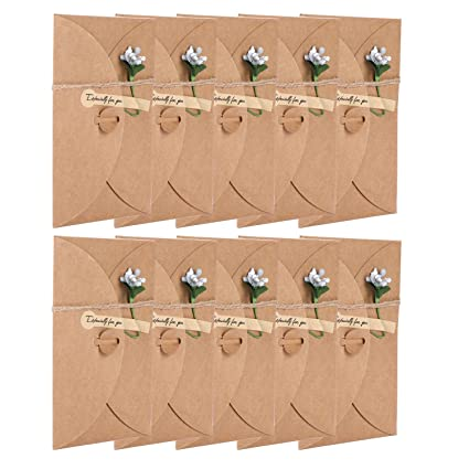 Amazon Com 10 Packs Greeting Cards With Dried Flowers