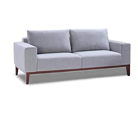 Amazon.com: Cortesi Home Roma Sofa in Soft Grey Fabric with ...