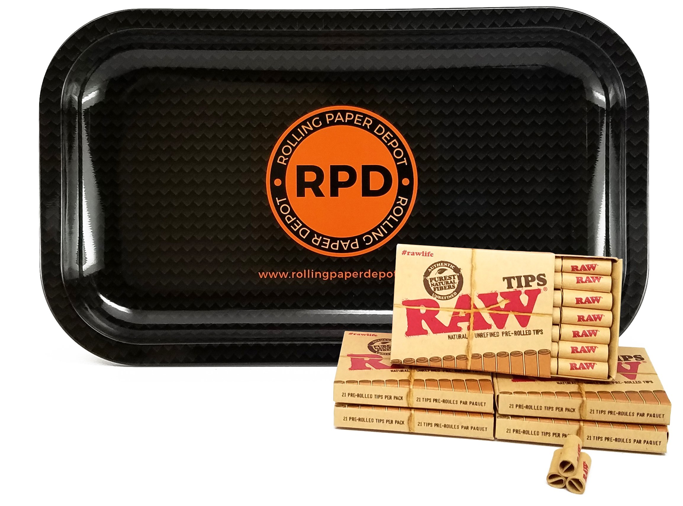 5 Packs RAW Natural Unrefined Pre-Rolled Tips with Rolling Paper Depot Rolling Tray (Carbon)
