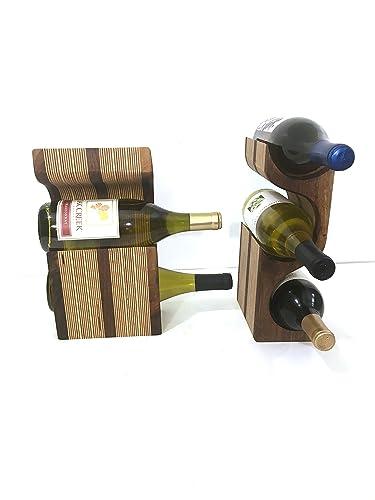 Amazoncom Black Walnut 3 Bottle Wood Wine Rack Display With Center