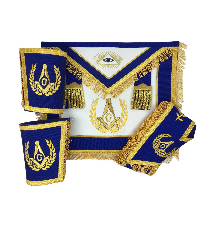 Masonic Master Mason Apron Set Gold Apron Collar And Gauntlets