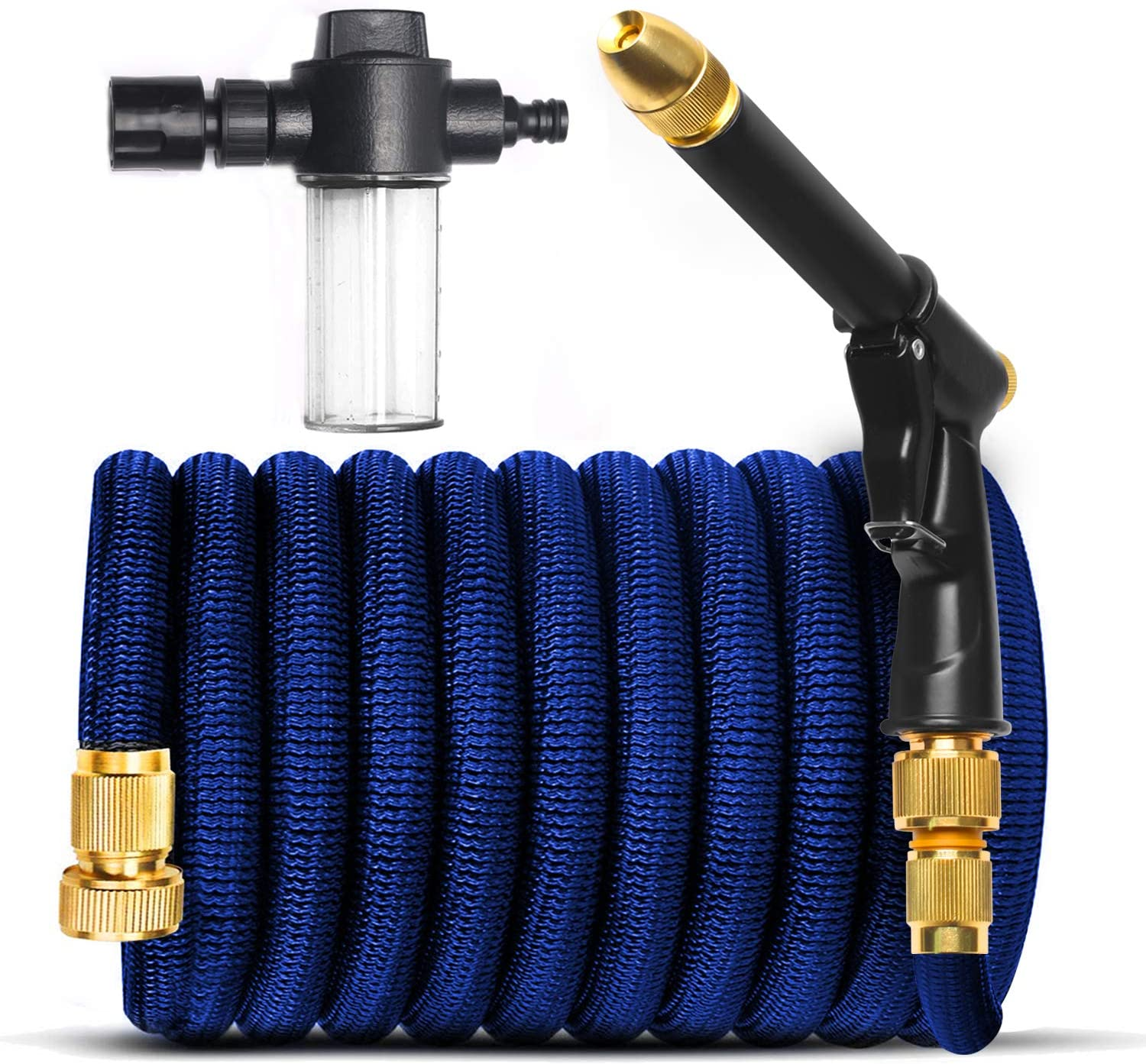 "Garden Hose Set,Extend and Increase Water Pressure After Water Injection, 3/4"" Solid Brass Quick Fittings,180 Degree Adjustable Nozzle, with Cleaning Fluid Filling Tank."