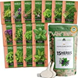 15 Culinary Herb Seed Vault - Heirloom and Non GMO - 4500 Plus Seeds for Planting for Indoor or Outdoor Herbs Garden, Basil,