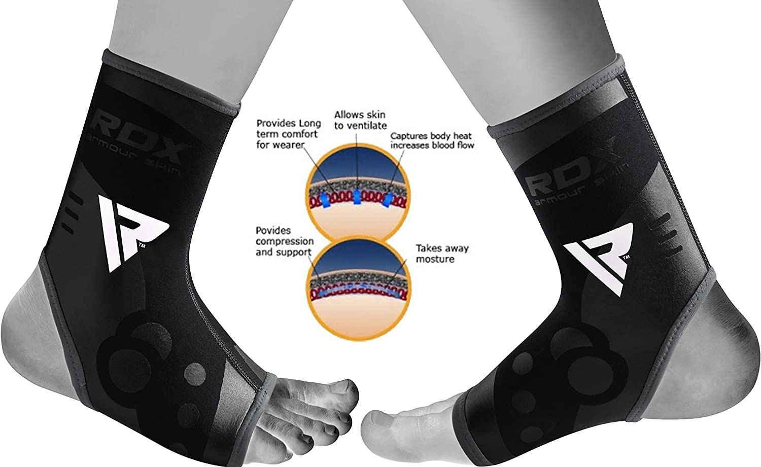 RDX Ankle Support Neoprene Brace Foot Guard MMA Pad Protector Achilles Tendon Pain Support Sold AS Single Item