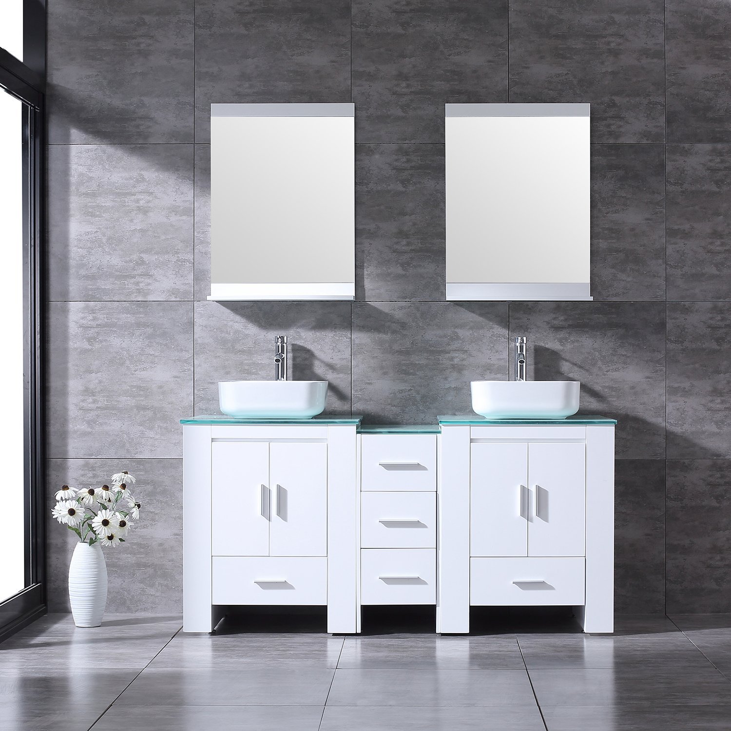 """BATHJOY Luxury 60"""" White Bathroom Double Wood Vanity Cabinet with Square Ceramic Vessel Sink and Mirrors Faucet Drain Combo"""