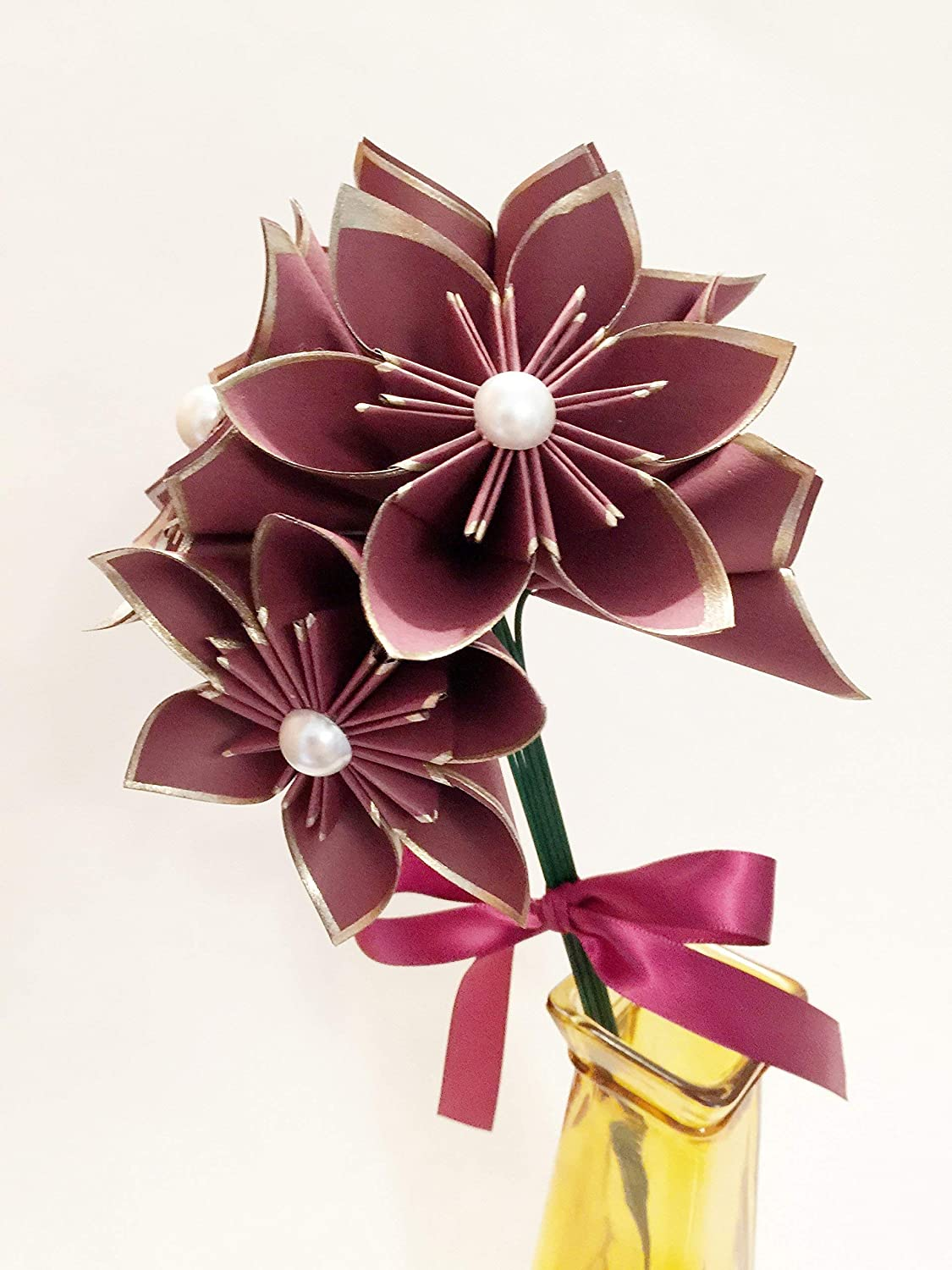 Amazon Com Set Of 6 Burgundy Gold Paper Flowers Traditional 1st
