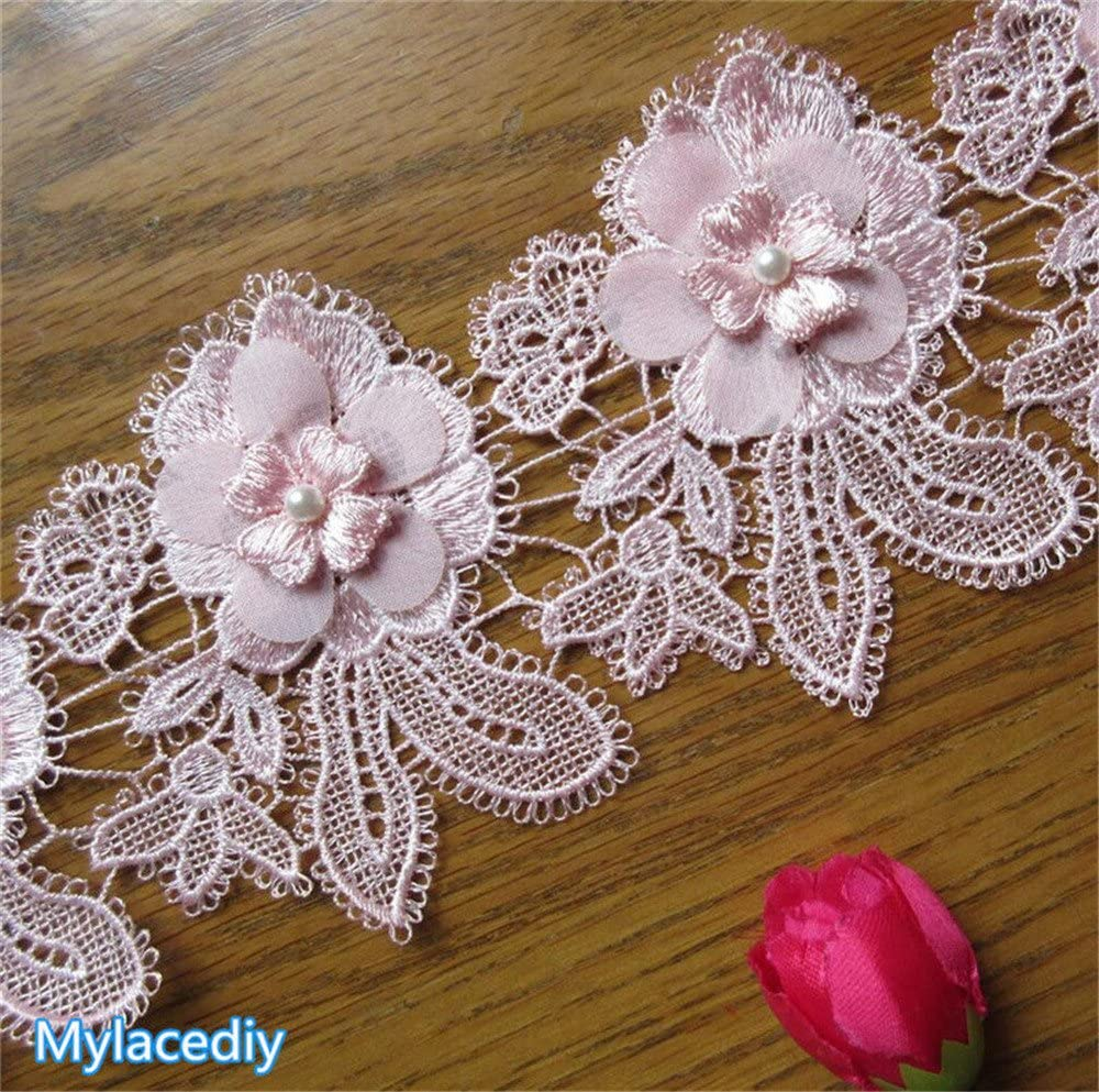 1 Yard Flower Pearl 3D Lace Edge Trim Ribbon 10 cm Width Vintage Style Pink Edging Trimmings Fabric Embroidered Applique Sewing Craft Wedding Bridal Dress Embellishment DIY Decor Clothes Embroidery
