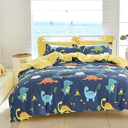 . Brandream Boys Bedding Sets Twin Size Dinosaur Bedding Set Kids Duvet Cover  Set Flat Sheet Pillow Sham Set 100  Cotton Reversible