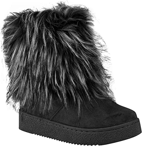 NEW Women Faux Fur Winter Warm Ankle Booties Mid Low Flat Heel Causal Boots