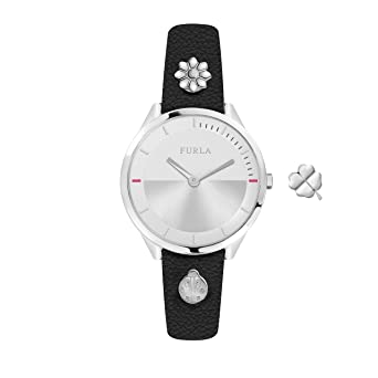 b4f6d55886 Furla Women's R4251112507 Pin Silver Dial With Black Leather Calfskin Band  Watch.