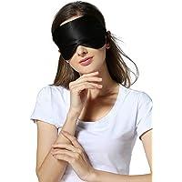 Allwaii Silk Sleeping Mask Comfortable with Adjustable Strap (Black)
