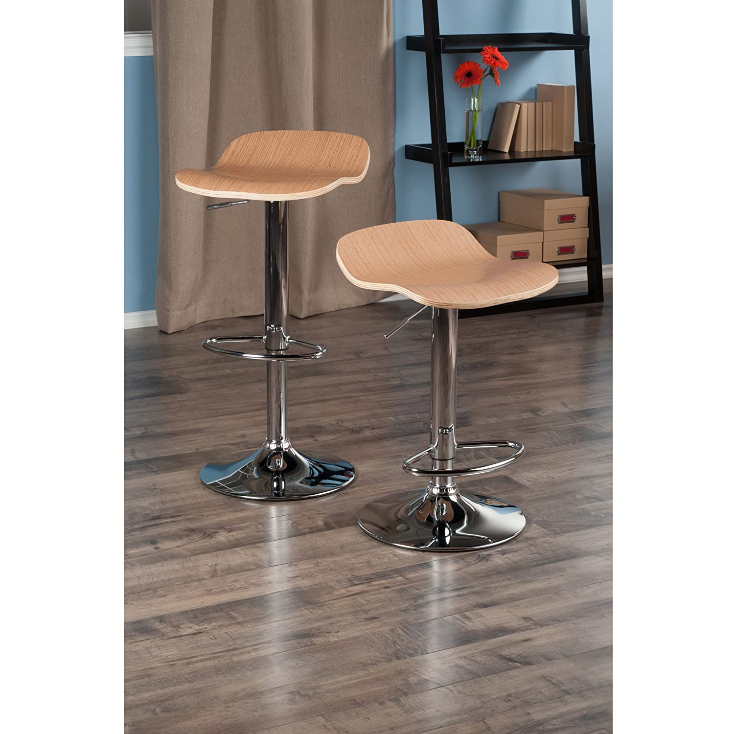 amazoncom winsome kallie air lift adjustable stools in wood veneer with cappuccino color and metal base set of 2 kitchen u0026 dining