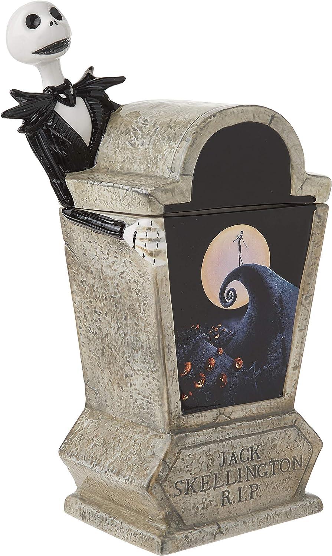 Vandor The Nightmare Before Christmas Tombstone Sculpted Ceramic Cookie Jar, White, Black