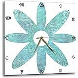 """3dRose dpp_51413_1 Teal Blue Grunge Flower Floral Art Wall Clock, 10 by 10"""""""
