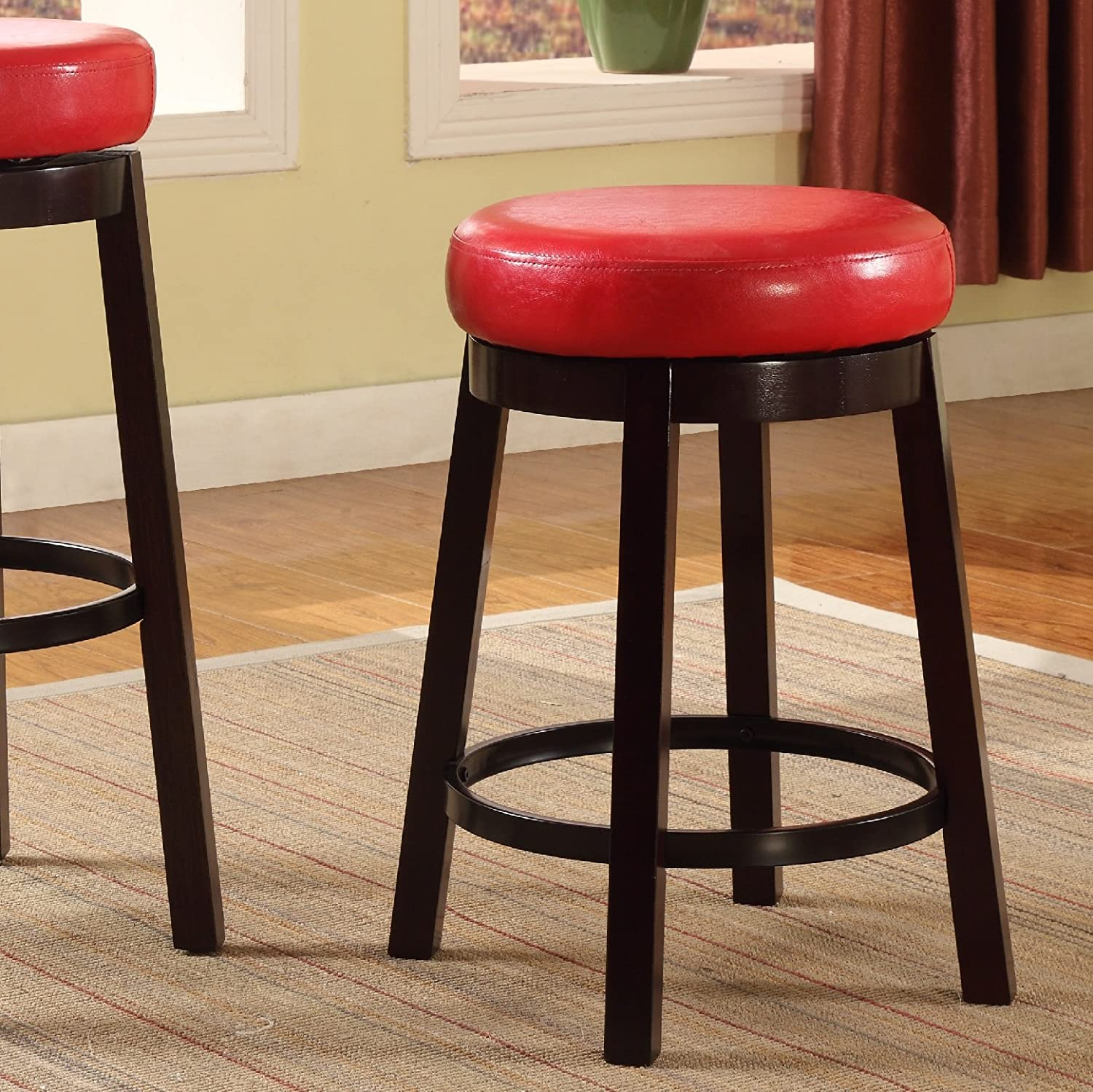 Roundhill Furniture Wooden Swivel Barstools, Counter Height, Snow White, Set of 2 PC002WH