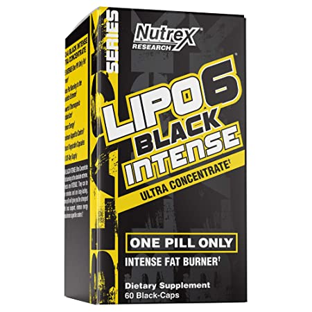 Nutrex Research Lipo-6 Black Intense Ultra Concentrate Intense Thermogenic Fat Burner Weightloss Support Caffeine, Tyrosine, Paradoxine, Theobromine 60 Count