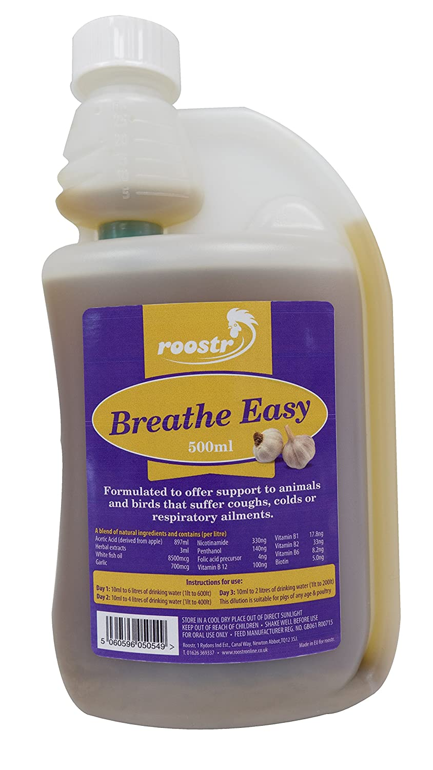 500ml Respite Breathe Easy - Help Coughs and Colds for Chickens, Poultry, Pigs Hatching Eggs Jalex® Poultry