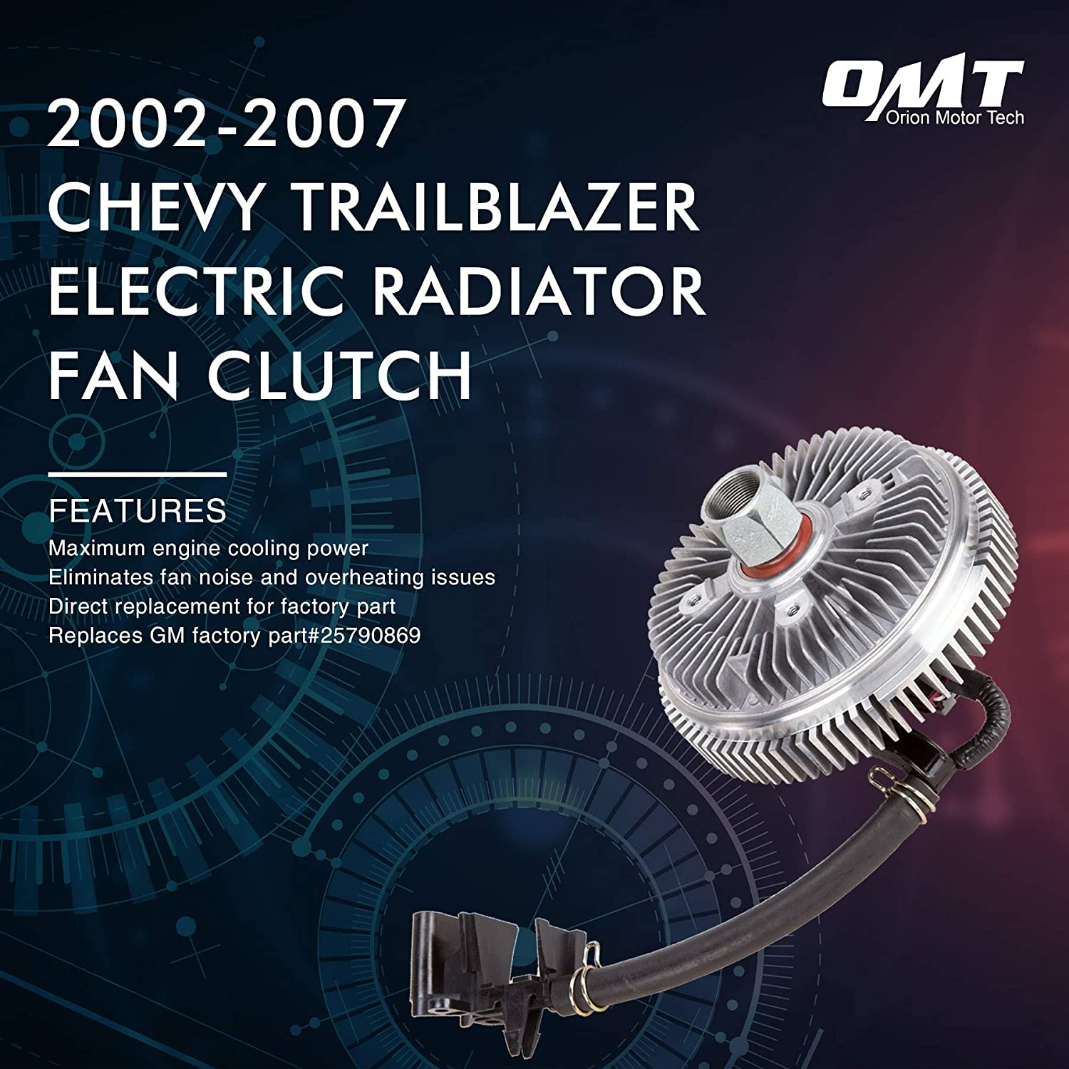 Orion Motor Tech Cooling Fan Clutch Electric Radiator, Compatible with  2002-2007 Chevy Trailblazer and GMC Envoy, Replaces# 25790869