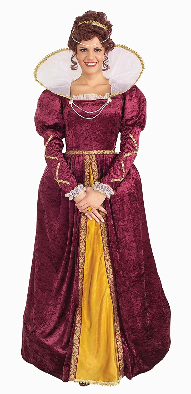Amazon.com: Forum Queen Elizabeth Dress and Crown, Purple, One Size ...