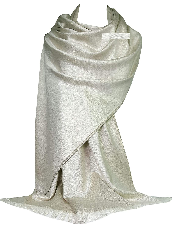 GFM Sciarpa in stile pashmina con stola scintillante con motivo plain (PASH11)