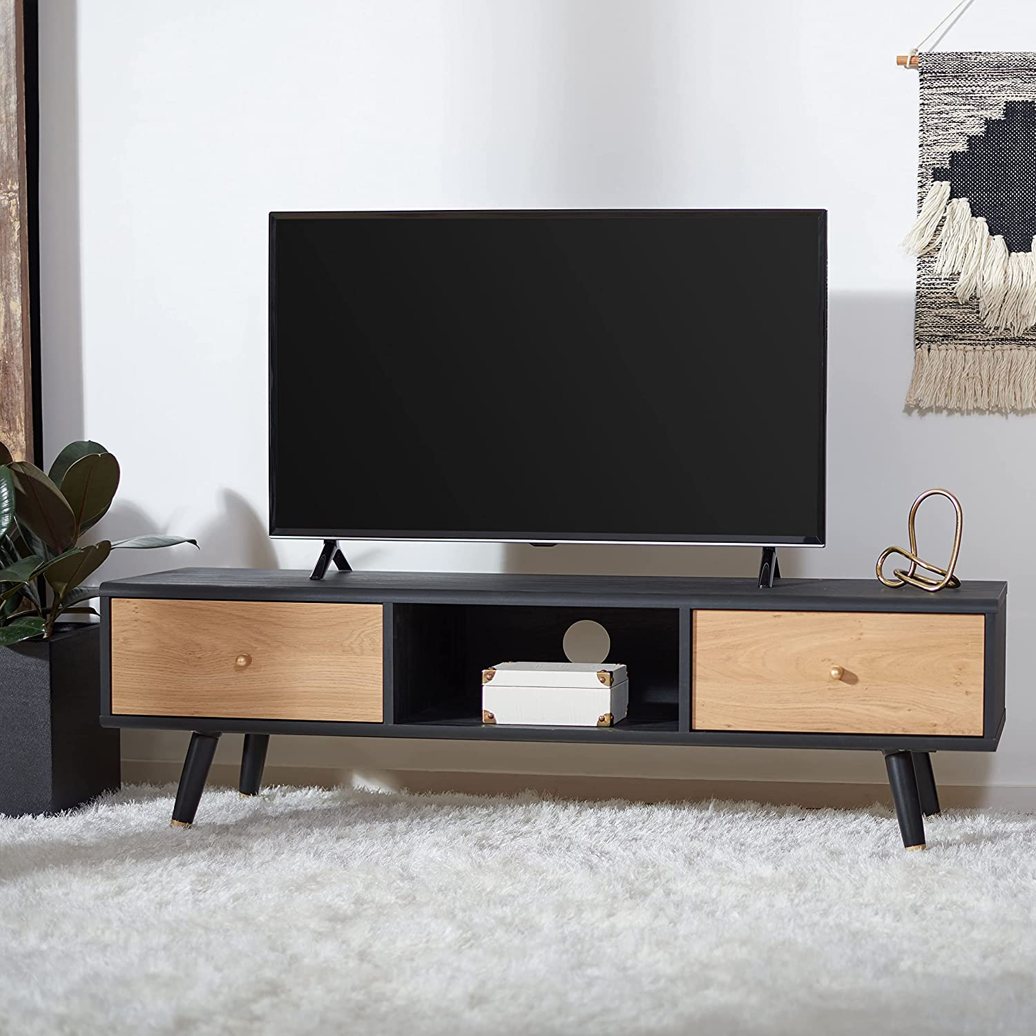 Safavieh Home Collection Beatrix Black and Oak 2-Drawer 1-Shelf Media (60-inch Flat Screen) TV Stand