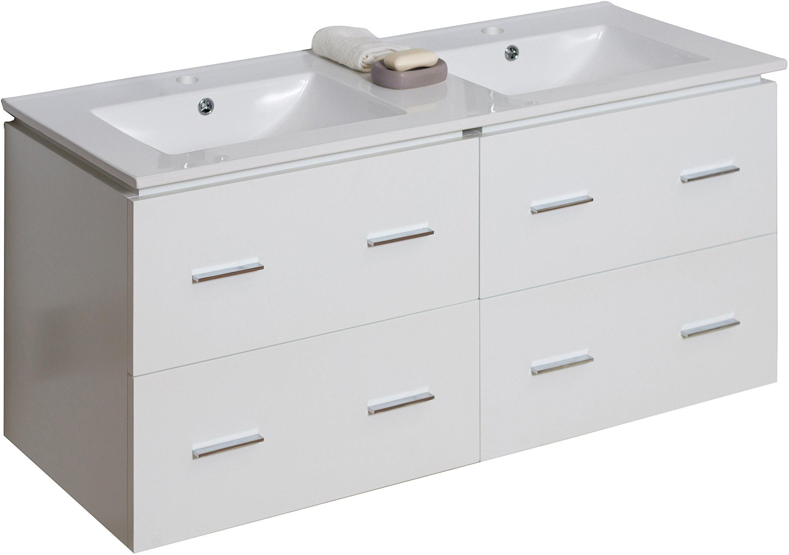American Imaginations 741   48-Inch W X 18-Inch D Wall Mount Glossy White Vanity with White Double Sink Ceramic Top for Single Hole Faucets