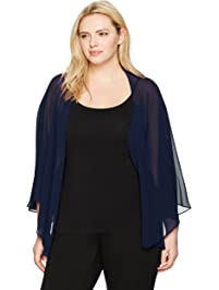 0f74ee5a4e258 S.L. Fashions Women s Plus Size Solid Chiffon Cascade Crop Shrug