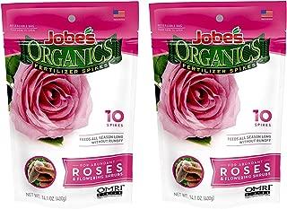 product image for Jobe's Organics Rose Fertilizer Spikes, 3-5-3 Time Release Fertilizer for All Flowering Shrubs, 10 Spikes per Package (2, Original Version)