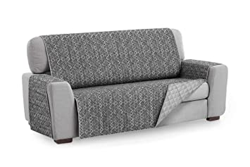 Textilhome - Funda Cubre Sofá Malu, 2 Plazas, Protector para Sofás Acolchado Reversible. Color Gris C/10
