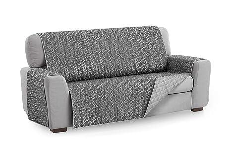 Textilhome - Funda Cubre Sofá Malu, 4 Plazas, Protector para Sofás Acolchado Reversible. Color Gris C/10