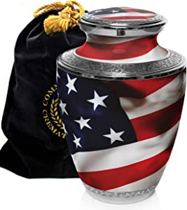 American Flag Patriotic and Veteran Cremation Urns for Human Ashes Adult for Funeral, Burial, Columbarium or Home, Cremation Urns for Human Ashes Adult 200 Cubic Inches, Urns for Ashes, Adult/Large