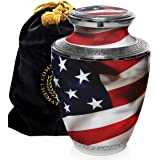 American Flag Cremation Urns for Human Ashes Adult for Funeral, Burial, Columbarium or Home, Cremation Urns for Human Ashes Adult 200 Cubic Inches, Urns for Ashes, Adult/Large