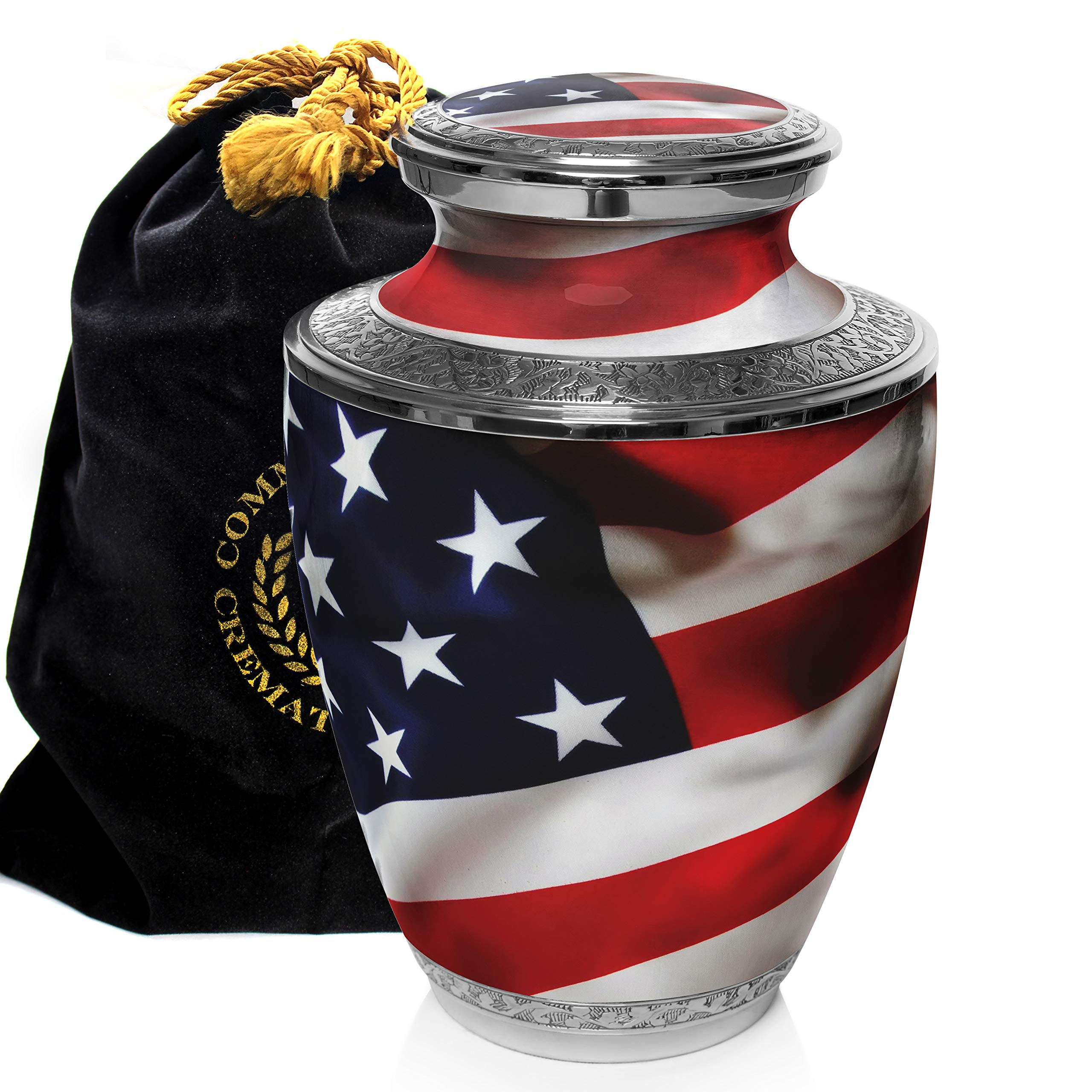 American Flag Cremation Urns for Human Ashes Adult for Funeral, Burial, Columbarium or Home, Cremation Urns for Human Ashes Adult 200 Cubic Inches, Urns for Ashes, Adult/Large by Commemorative Cremation Urns