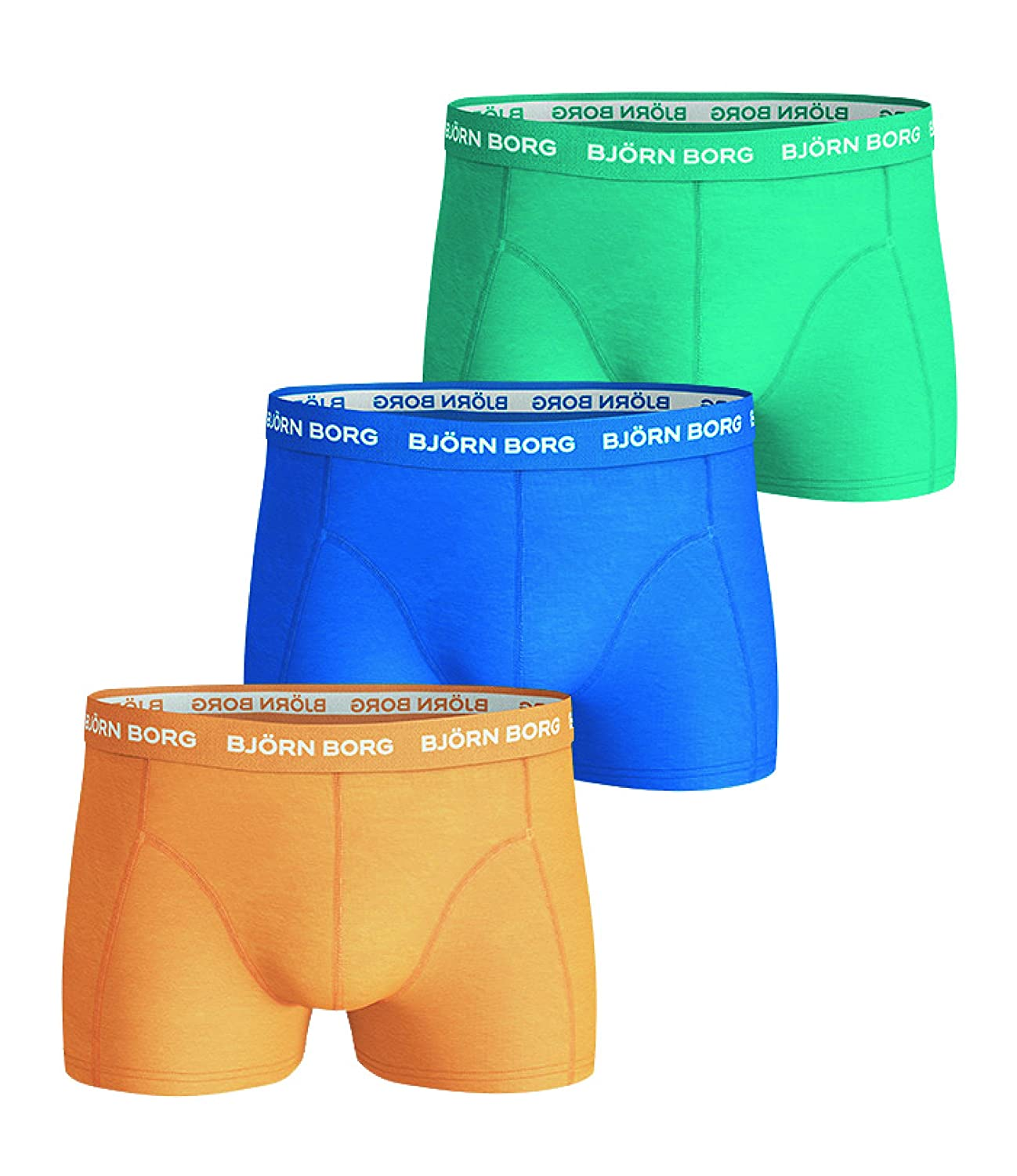 Bjorn Borg 3 Pack Boxers Seasonal Solids Turq Sky Yellow