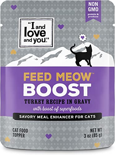 I and love and you Feed Meow Meal Enhancer -Grain Free Wet Cat Food Topper, 3-Ounce Variety of Flavors
