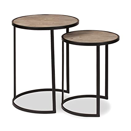 Amazon Com Kate And Laurel Gracen Metal And Wood Nesting Tables 2