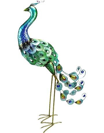 Christmas Concepts® 76cm Pavo real colorido de metal con plumas Jewel - Decoración de jardín