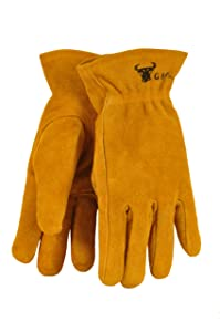 G & F 5013L JustForKids Kids Genuine Leather Work Gloves, Kids Garden Gloves, 7-9 Years Old