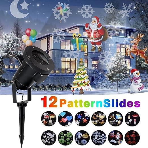 LED proyector luces para navidad,12 reemplazable diapositivas, al ...