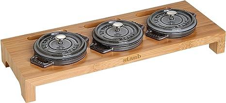 Staub Servierbrett für 3 Mini Cocottes  Schwarzes Holz Maße 46 x 16 x 5 cm