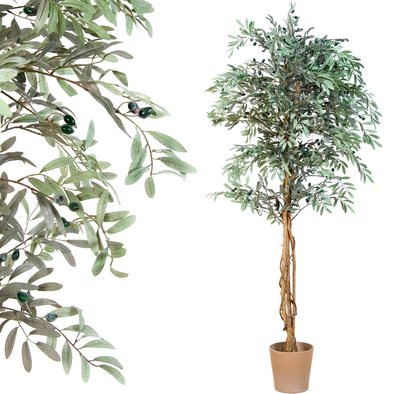 Kunstpflanze PLANTASIA/® Olivenbaum 180 cm Echtholzstamm Kunstbaum Schadstoffgepr/üft