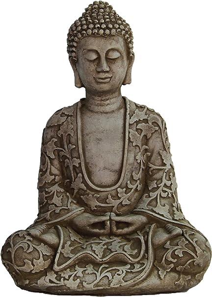 Amazon Com Lotus Buddha Concrete Statue Asian Garden Outdoor Sculpture Garden Outdoor
