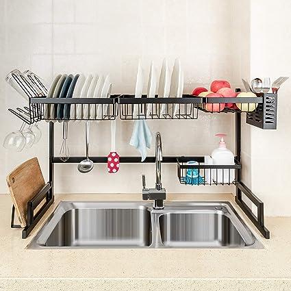 MONOKIT Dish Rack, Over Sink Dish Drying Rack Drainer Kitchen Counter  Organizer Shelf with Cutting Board Holder and Utensil Holder