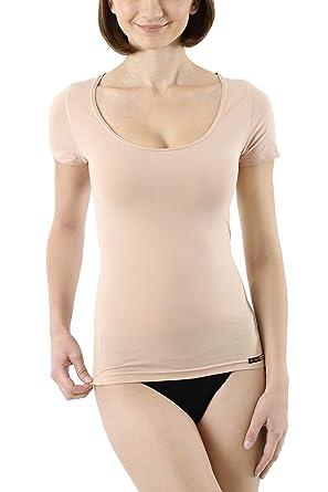 a6d78b91c22d66 Albert Kreuz unsichtbares Damen Business Unterhemd mit Kurzarm und tiefem  Rundausschnitt U-Neck in Hautfarbe