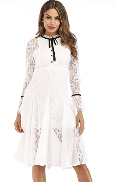 Aofur Ladies Long Sleeve Crochet White Lace Summer Party A Line Dresses Wedding Midi Lace Party Cocktail Dress 8 24