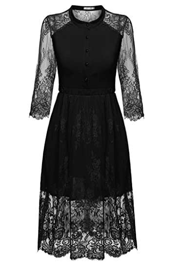77958ab31331 Amazon.com: keliqq Women's Floral Lace Patchwork Button Down Half Sleeve  Evening Midi Dress: Home & Kitchen