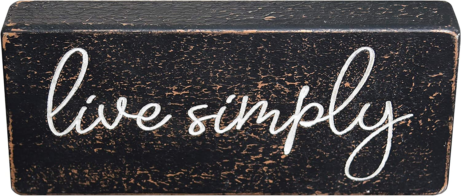 PrideCreation Live Simply Wooden Box Sign, 12x5 inch Rustic Farmhouse Carved Tabletop Block Desk Signs Gift for Home Mantel Shelves Living Room Bedroom Dining Room Kitchen Decor, Black Marble Texture