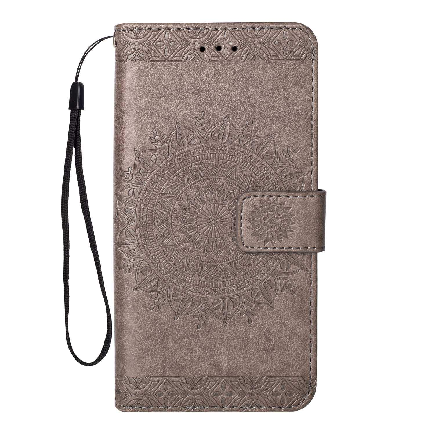 UNEXTATI Mandala Embossed Design Slim PU Leather Flip Wallet Cover Case with Wrist Strap Card Slot Rose Red Magnetic Closure and Kickstand iPhone 7 // iPhone 8 Case