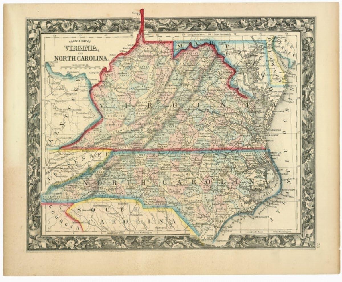 1860 map County map of Virginia, and North Carolina|Size 20x24 - Ready to Frame| Civil War|History|North Carolina|Virginia